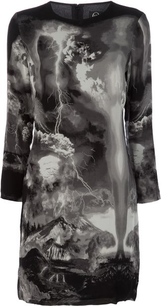 Mcq By Alexander Mcqueen Printed Silk Dress in Black - Lyst
