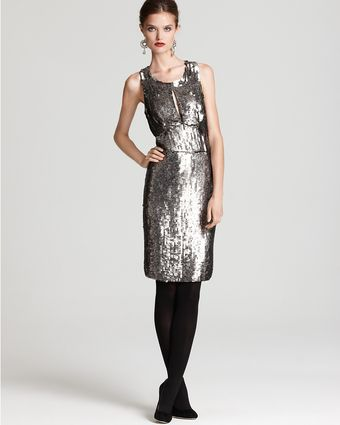 Milly Charlotte Sequin Keyhole Dress - Lyst
