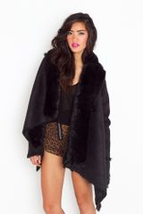 Nasty Gal Chelsea Shearling Coat  Black in Black - Lyst