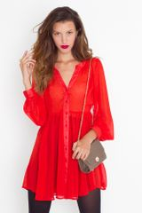 Nasty Gal Chiffon Babydoll Dress - Crimson - Lyst