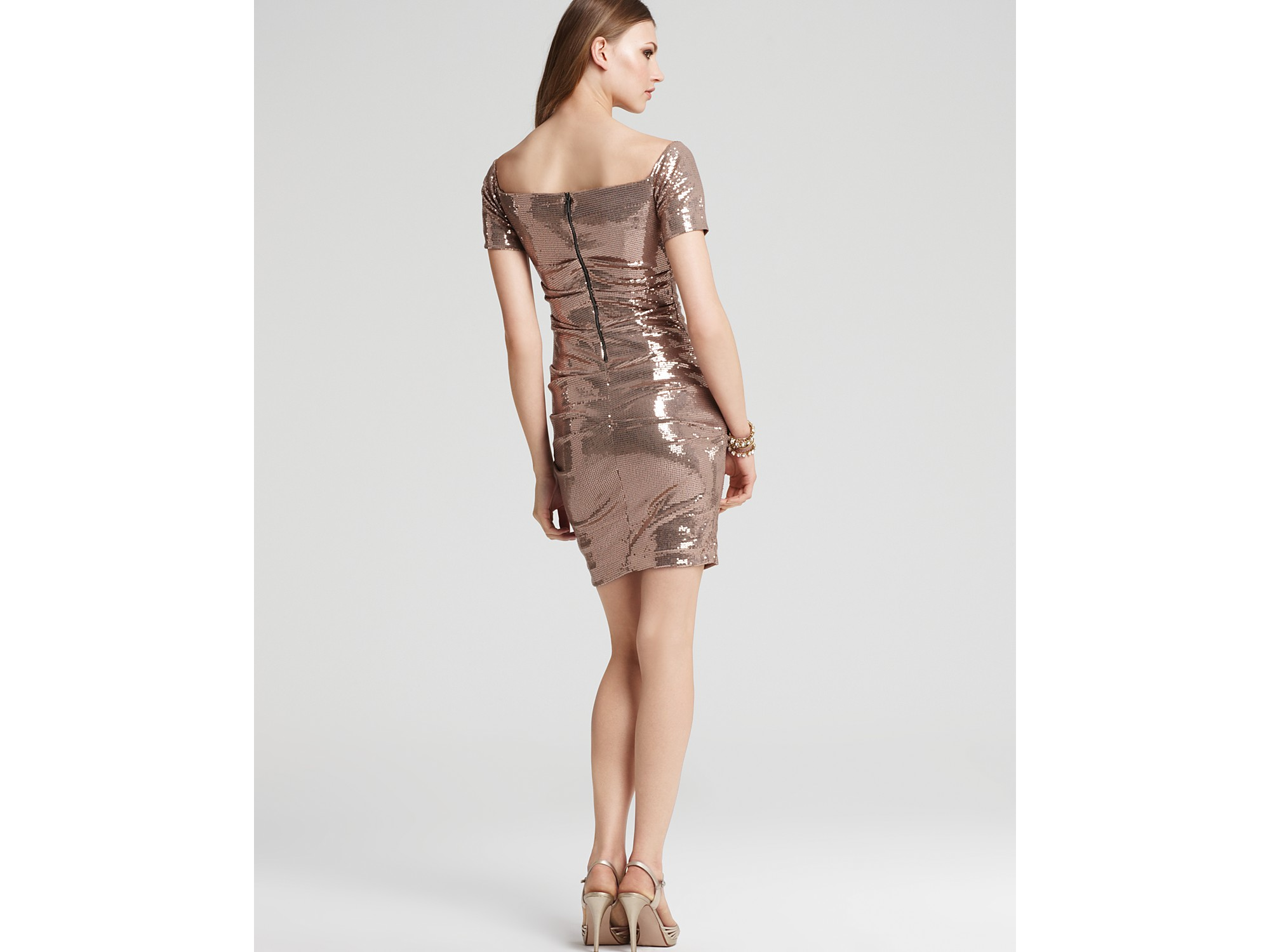 Nicole miller Off-shoulder Stretch Sequin Dress in Pink - Lyst