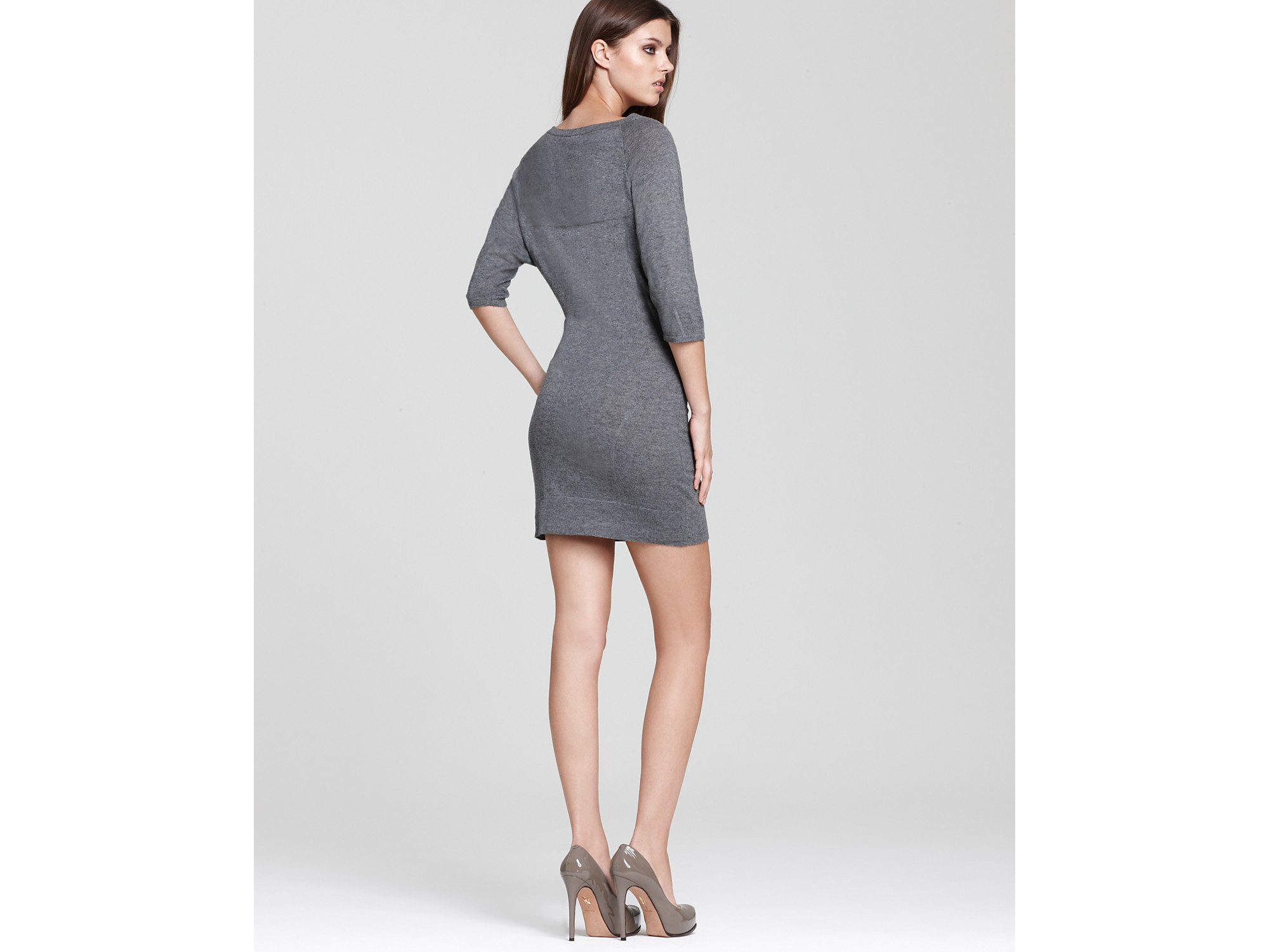 Nicole miller Sequin Sweater Dress in Gray  Lyst