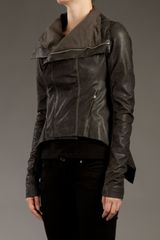 Rick Owens Funnel Neck Leather Jacket in Gray (grey) - Lyst