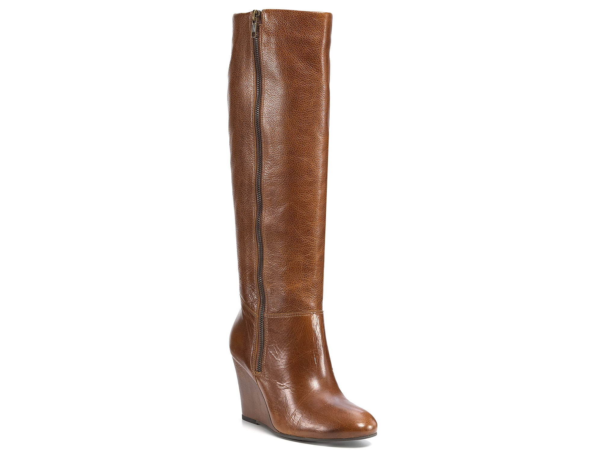 steve madden wedge boots in brown cognac leather lyst