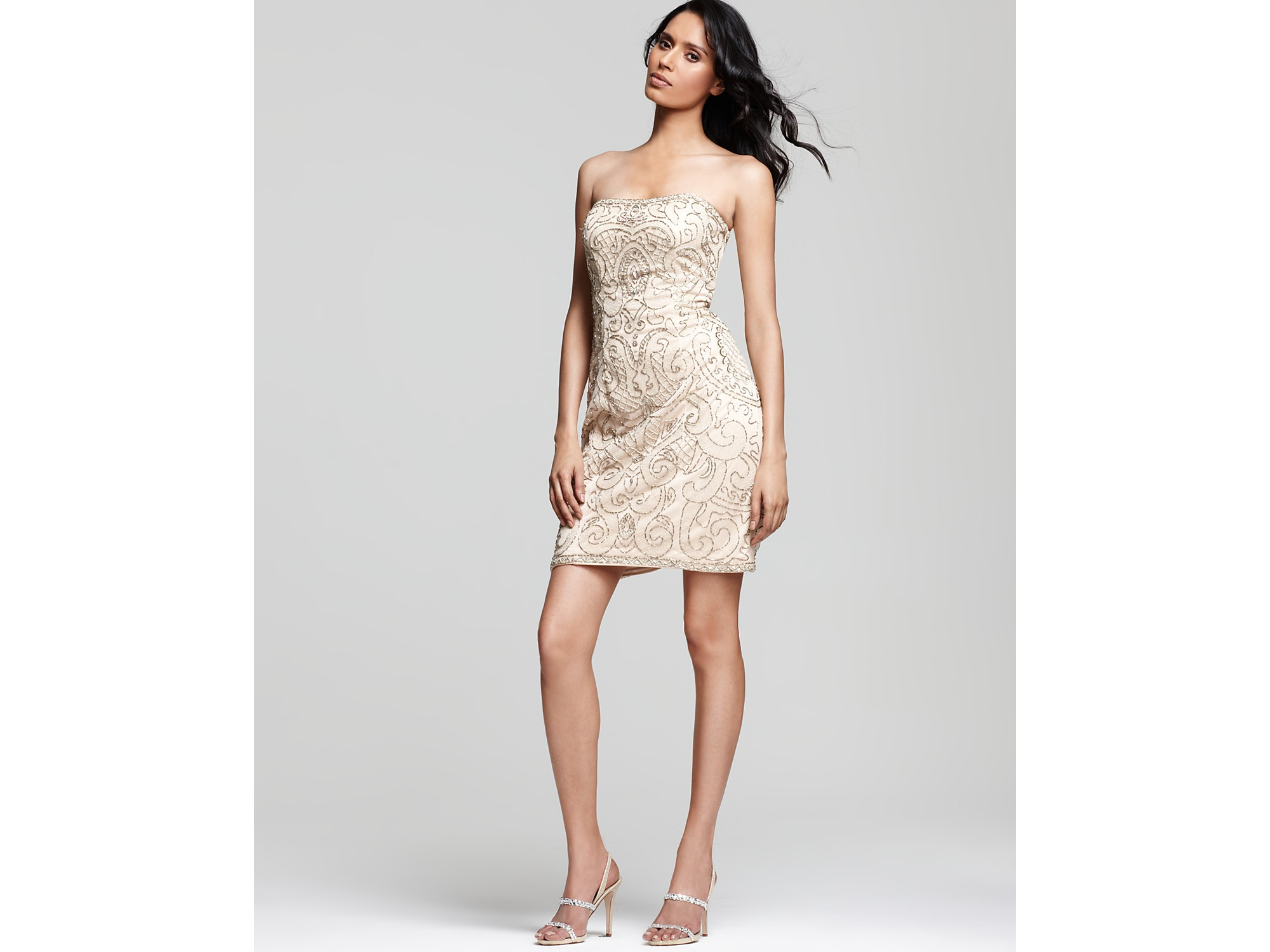 9b499f85134 Lyst - Sue Wong Strapless Embroidered Dress in Natural