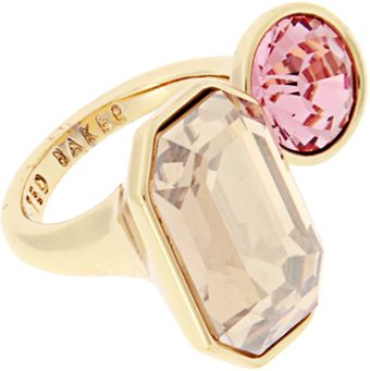 Ted Baker Gold Crystal And Light Rose Double Jewel Ring - Lyst