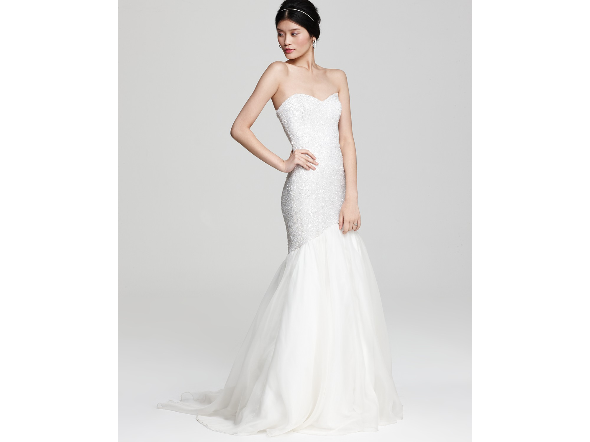 504e0ca69ac THEIA Sequin Mermaid Gown with Organza Skirt in White - Lyst