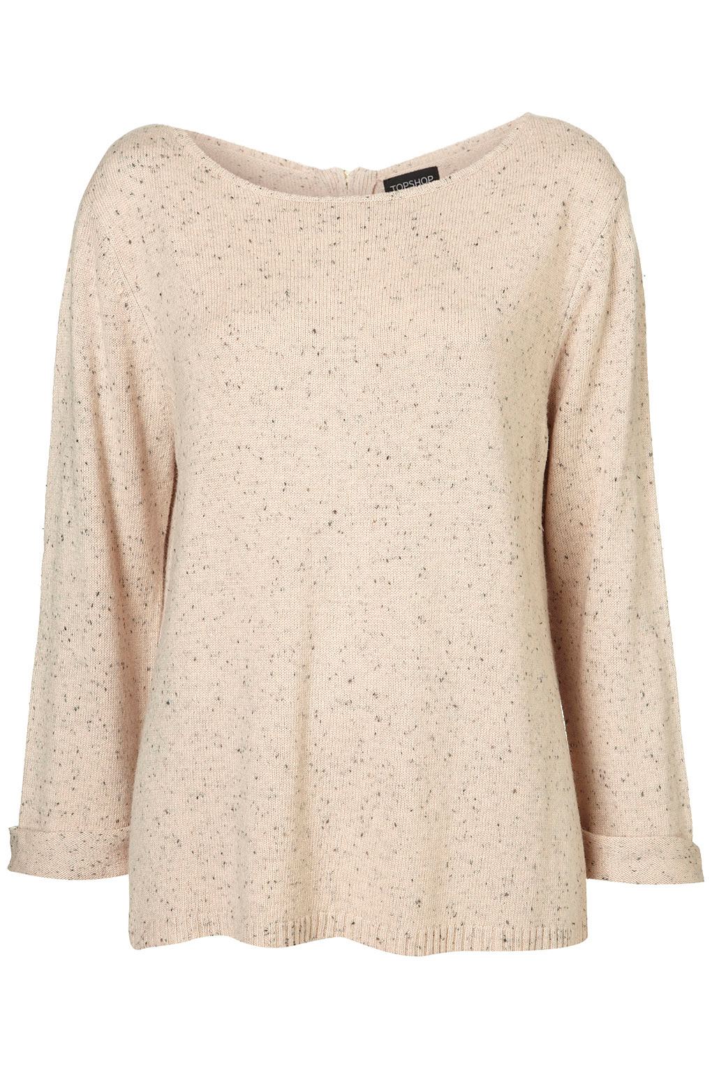 Lyst Topshop Knitted Fleck Neon Zip Jumper In Pink