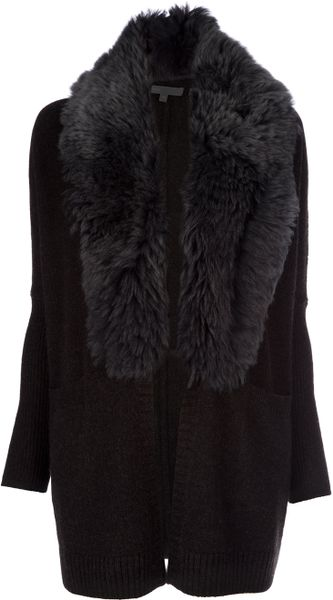 Vince Shearling Coat in Black (charcoal) - Lyst
