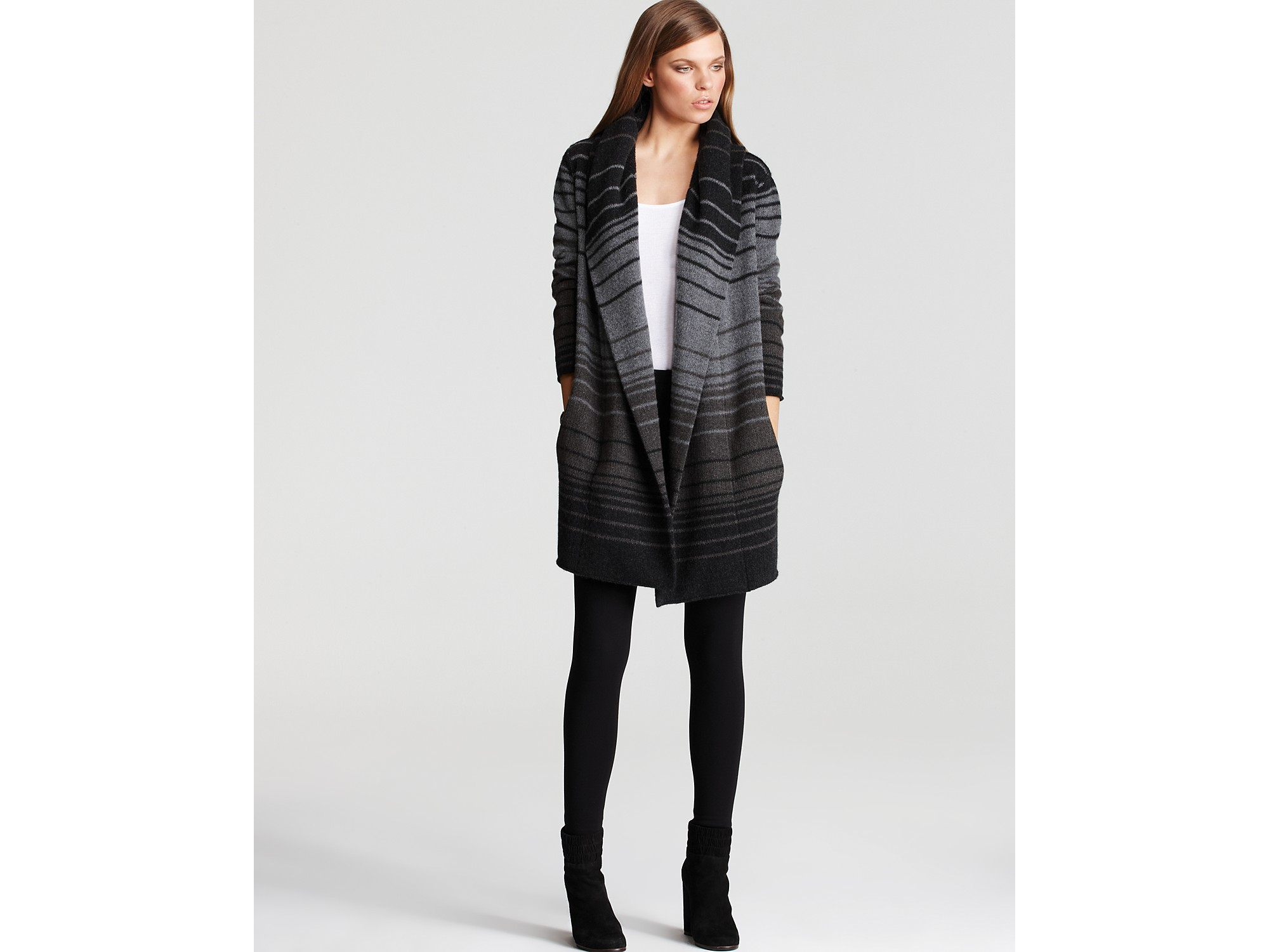 Lyst Vince Sophie Variagated Stripe Sweater Cardigan In