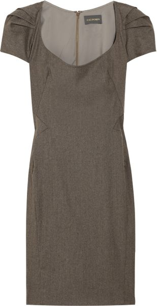 Zac Posen Pleated Mélange Dress in Brown - Lyst