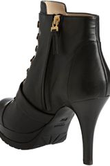 Fendi Black Leather Lace Up Buckle Booties in Black - Lyst
