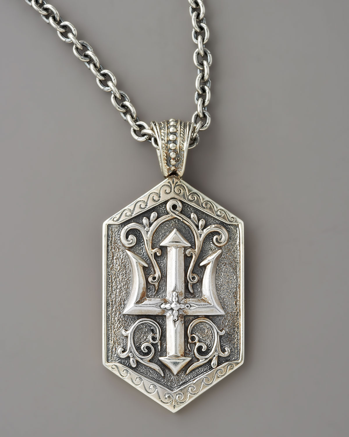 konstantino poseidon trident tag pendant in metallic for
