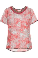 Matthew Williamson Tattoo Printed Silk-chiffon Top - Lyst