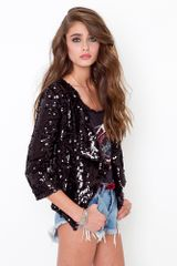 Nasty Gal Crop Sequin Jacket - Lyst