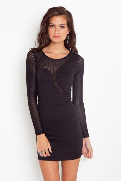 Nasty Gal Seeing Stripes Dress in Black