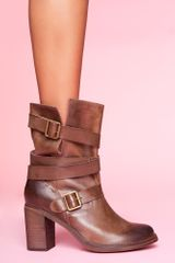Nasty Gal France Strapped Boot - Brown - Lyst