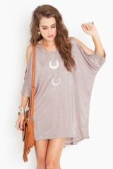Nasty Gal Open Shoulder Dress - Champagne - Lyst