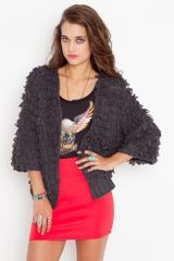 Nasty Gal Shag Knit Jacket - Charcoal - Lyst