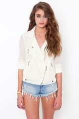 Nasty Gal Hidden Lace Jacket - Cream - Lyst