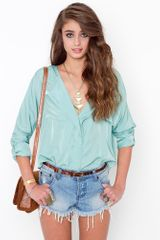 Nasty Gal Celine Pocket Blouse - Mint - Lyst
