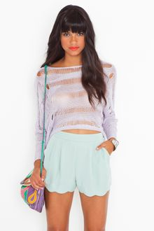 Nasty Gal Minty Scallop Shorts - Lyst