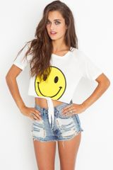 Nasty Gal Almost Smiley Crop Tee - Lyst
