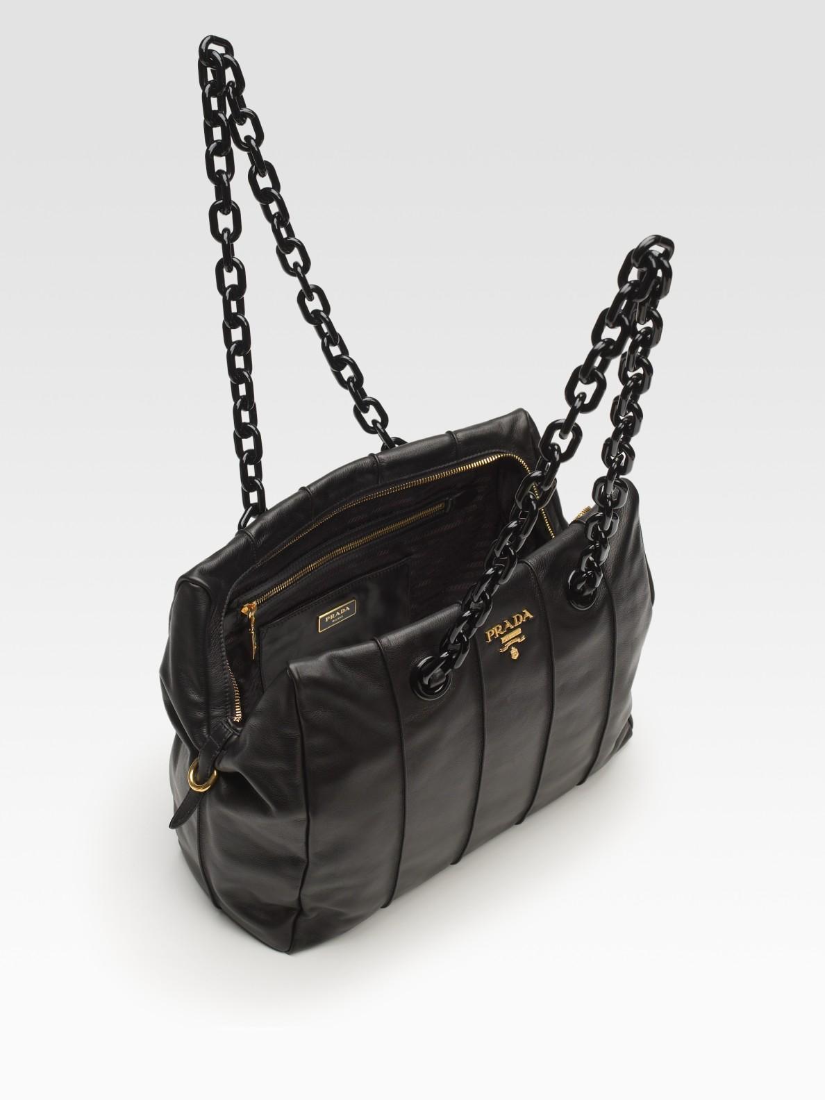 Prada Soft Calf Chain Bag in Black | Lyst
