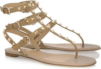 Valentino Studded Leather Flat Sandals - Lyst