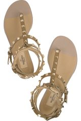 Valentino Studded Leather Flat Sandals in Green (mocha) - Lyst