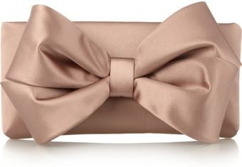 Valentino Bow-embellished Satin Clutch - Lyst