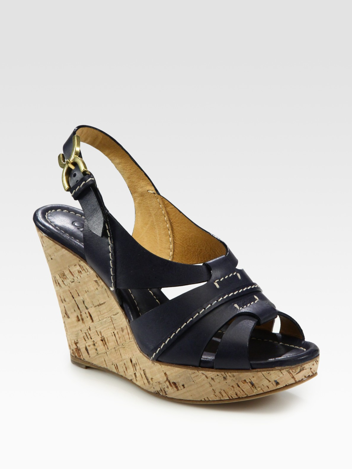 Chlo 233 Leather Slingback Cork Wedge Sandals In Blue Navy