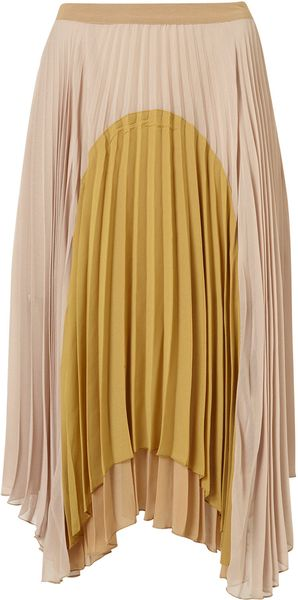 Topshop Pleat Colour Block Calf Skirt in Beige (nude) - Lyst