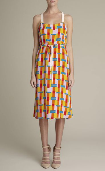 Adam Lippes Bauhaus Block Print Silk Dress in Yellow (lemon multi) - Lyst