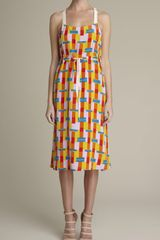 Adam Lippes Bauhaus Block Print Silk Dress - Lyst