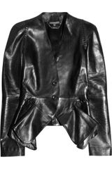 Alexander McQueen Folded-front Leather Jacket