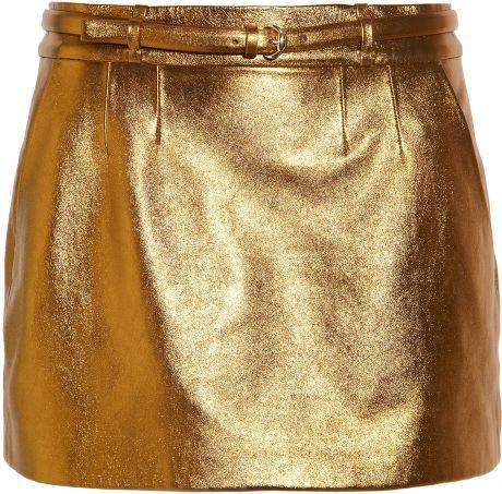Gucci Metallic Leather Mini Skirt in Gold