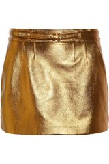 Gucci Metallic Leather Mini Skirt - Lyst