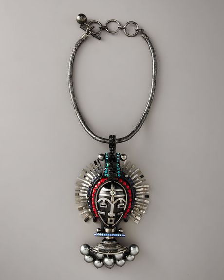 Lanvin Mask Pendant Necklace, Silvertone in Black - Lyst