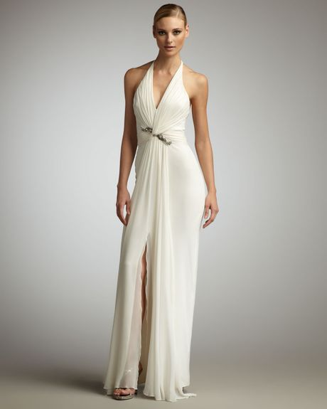 Notte By Marchesa Twistfront Halter Gown in White - Lyst