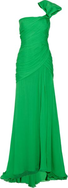 Oscar de la Renta One-shoulder Silk-chiffon Gown - Lyst