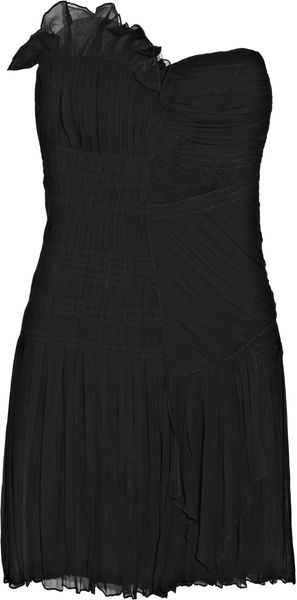 Philosophy di Alberta Ferretti Pleated Silk-chiffon Strapless Dress - Lyst
