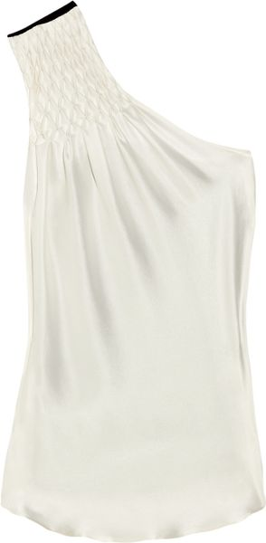 Preen Mood Sandwashedsilk Top in White (black) - Lyst