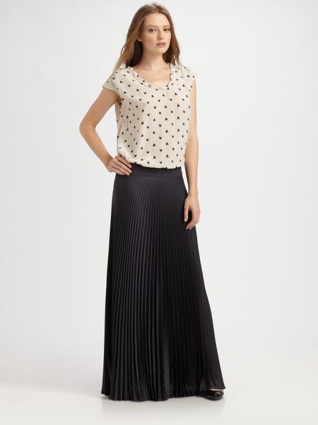 pleated maxi skirt in blue navy lyst
