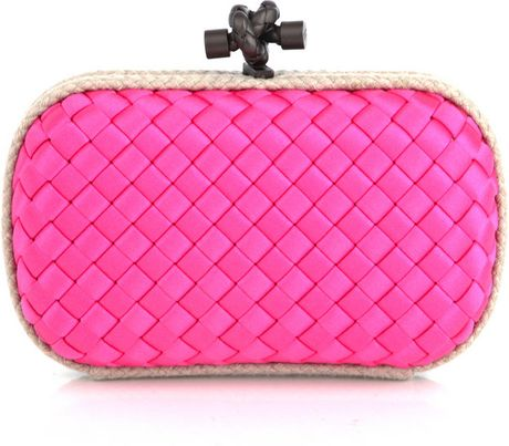 Bottega Veneta Satin Woven Clutch Bag in Pink - Lyst