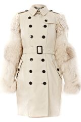 Burberry Trench Coat with Fox Fur Sleeves in Beige - Lyst
