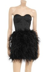 Rare Opulence FeatherEmbellished Satin Bustier Dress in Black - Lyst