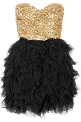 Rare Opulence Sequined And Ruffled Tulle Dress in Gold - Lyst