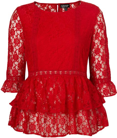 Zara Red Lace Peplum Blouse 2