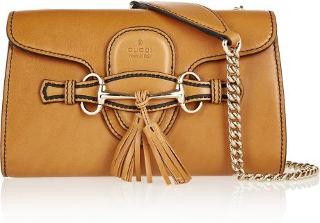 Gucci Emily Leather Shoulder Bag in Brown (caramel) - Lyst